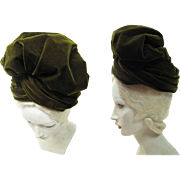 1940's Irene Of New York Moss Green Slouchy Silk Velvet Turban Hat