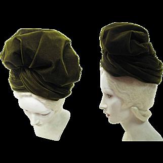 1940's Irene Of New York Moss Green Slouchy Silk Velvet Turban Hat