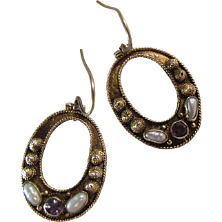Lovely Vintage Sterling Silver Vermeil Cannetille Earrings With Amethyst, Freshwater Pearls And French Wire Findings