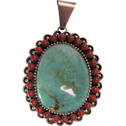 Large Vintage Navajo Sterling Silver Turquoise And Red Coral Pendant By C. Jones