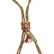 Opulent 14K Yellow Gold 44 Inch @ Strand Rope Chain Slide Chain Necklace With Tassels