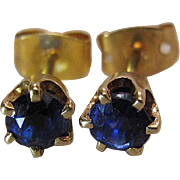 Vintage 14K Yellow Gold Natural Blue Sapphire Stud Earrings
