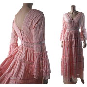 Romantic 1970's Pink Lace & Gauzy Cotton Dress With Bell Sleeves