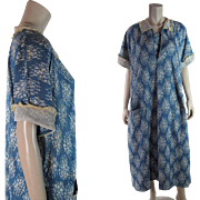 Pretty 1920's Extra Large Printed Cotton Day Dress With Lace Trims