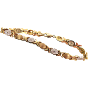 Romantic 10K Yellow And White Gold Hugs And Kisses Bracelet With Diamonds