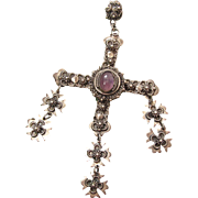 Vintage Taxco Eagle Mark Mexican Sterling Silver 4 1/4-Inch Cannetille Cross With Natural Amethyst