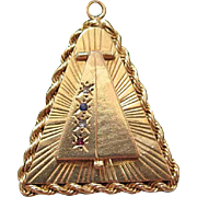 Mid Century 14K Gold Mixed Gemstone Triangular Pendant - Locket