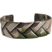 Dramatic Vintage 800 Silver Cuff Bracelet With Modern Industrial Design
