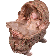 "4"" All-Bisque Bye-Lo Baby in Original Presentation and Cradle"