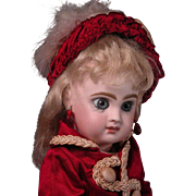 "11"" Tete Jumeau Size 2 Closed Mouth Bebe in Ruby Red"