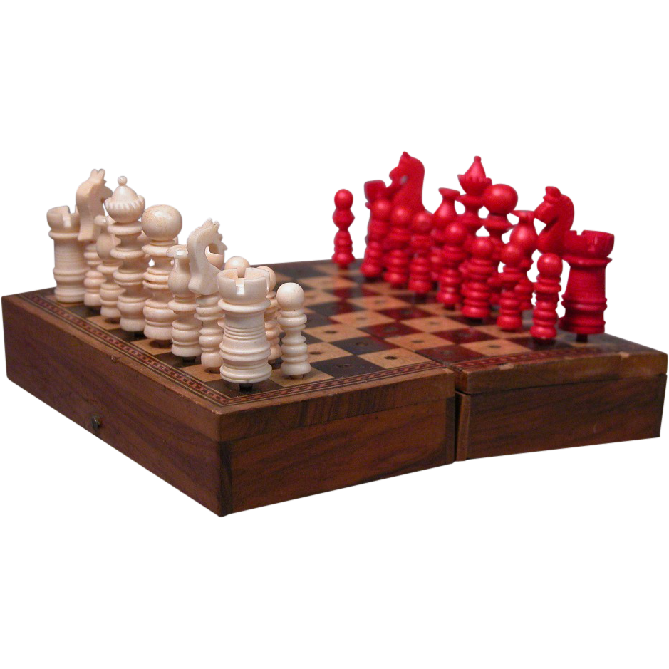 Miniature Chess Set for Fashion Doll, Bone Pieces and Inlaid Wood Board