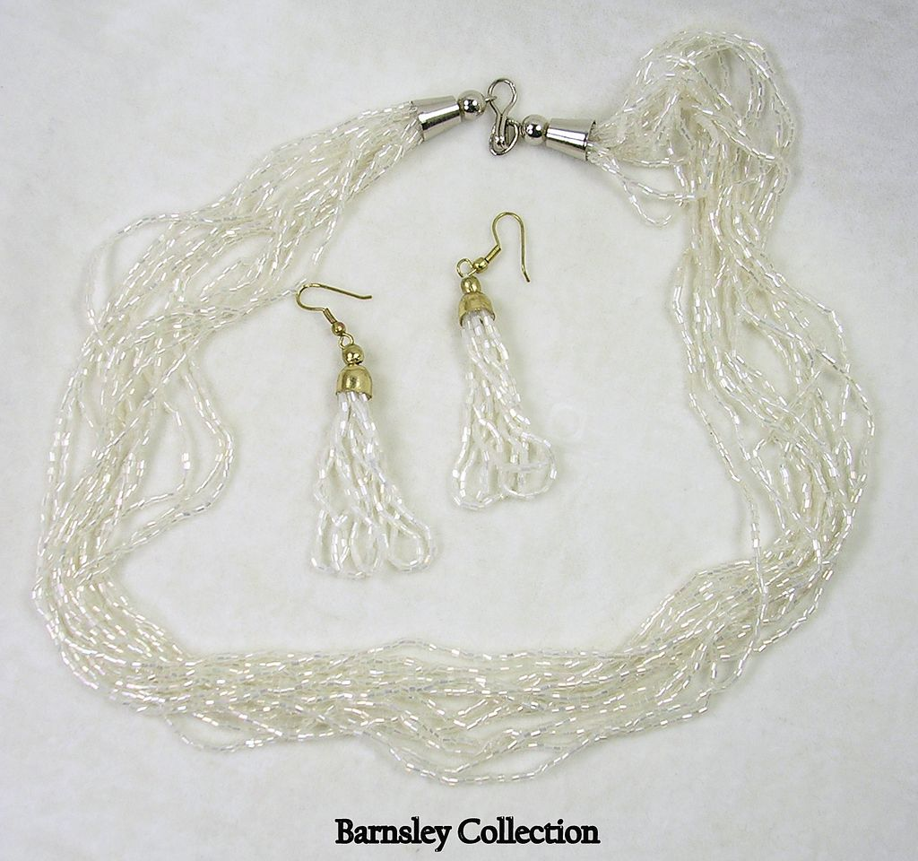 Vintage Glass Bugle Beaded Multi Strand Necklace and Earrings