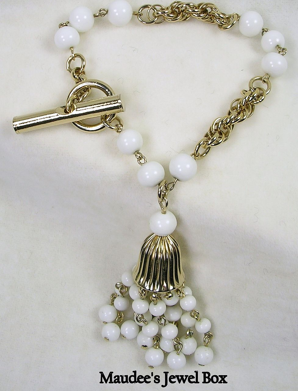 Vintage Milk Glass and Chain Bracelet with Tassel
