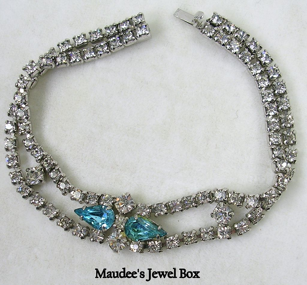 Vintage Turquoise Blue and Clear Crystal Rhinestone Line Bracelet – c. 1940