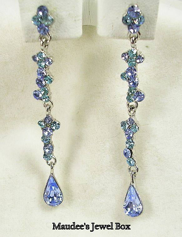 Blue Topaz and Turquoise Green Rhinestone Drop Pierced Earrings