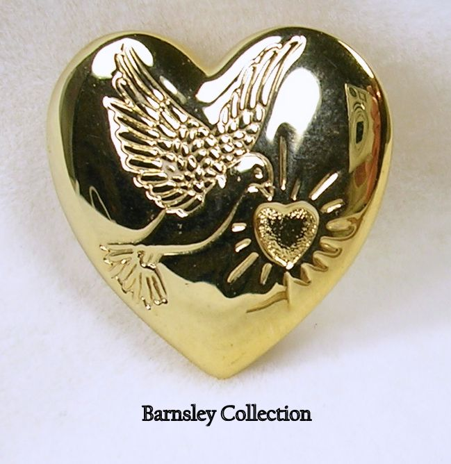 Variety Club Heart Brooch Pin in Gold  Tone