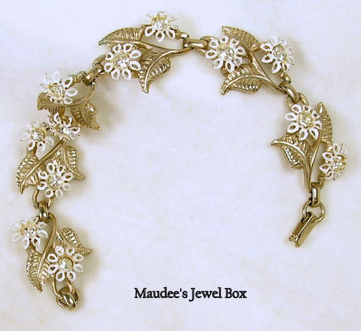 Vintage Gold Tone Leaf Link and Floral Bracelet - c. 1960s