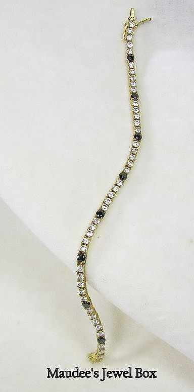 Vintage Black and Clear Cubic Zirconia Line/Tennis Bracelet in Vermeil- c.1965