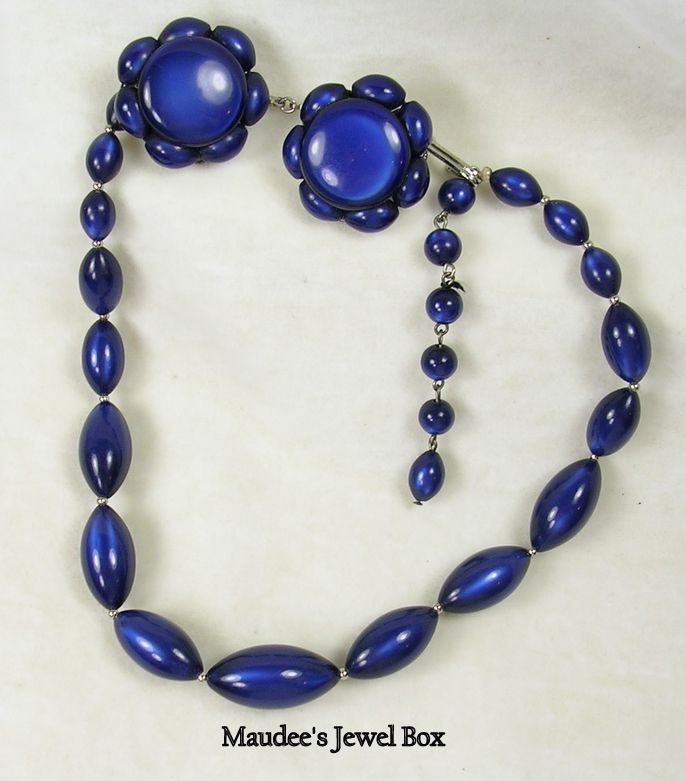 Vintage Royal Blue Lucite Necklaces with Clip Earrings
