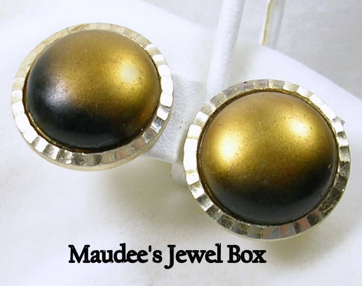 Vintage Dome Button Gold and Brown Clip Earrings
