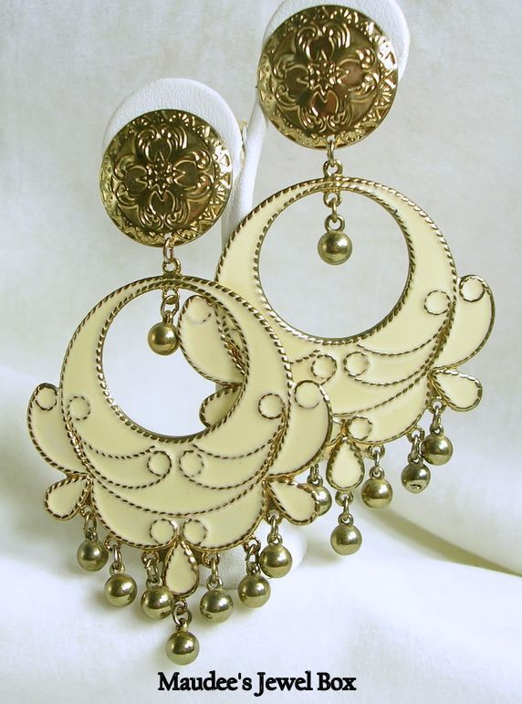 Vintage Gold Tone and Cream Enamel Beaded Door Knocker Pierced Earrings – Stunning!