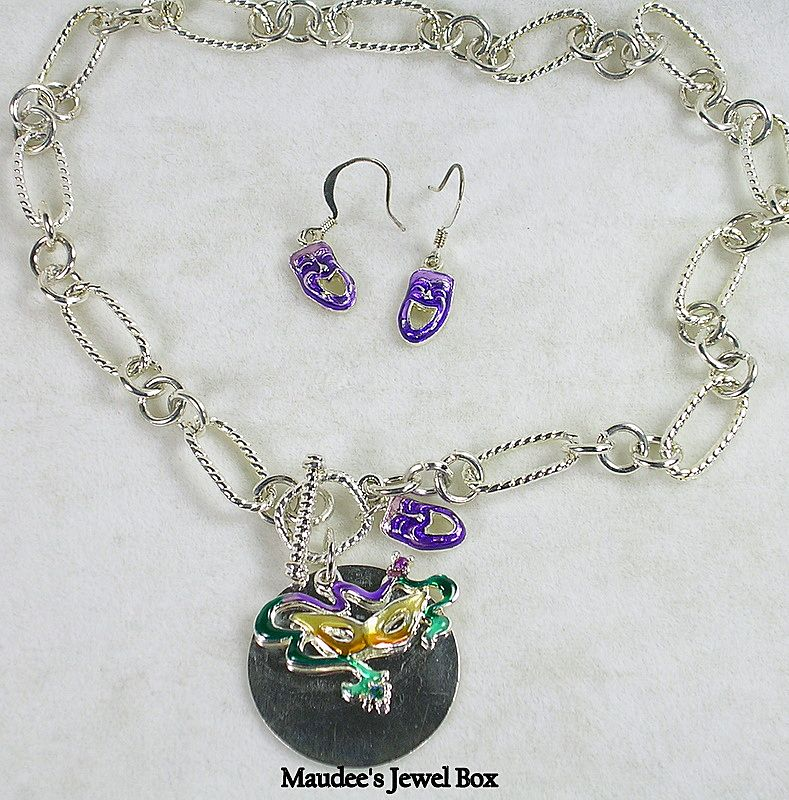 Enamel and Silver Tone Mardi Gras Mask Necklace and Earrings