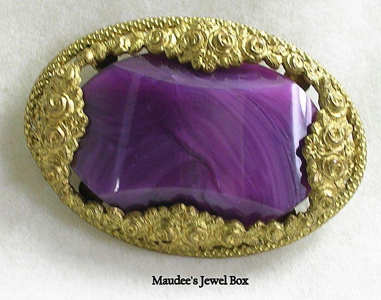 Vintage Amethyst Purple Marbleized Lucite Stone in a Floral Frame Pin Brooch