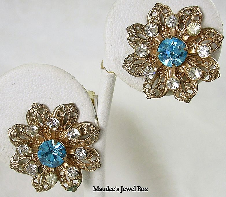 Vintage Filigree Floral Clip Earrings with Turquoise Rhinestones in Gold Tone
