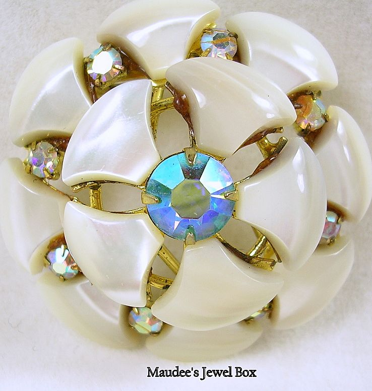 Vintage Mother of Pearl and Aurora Borealis Rhinestone Pin / Brooch