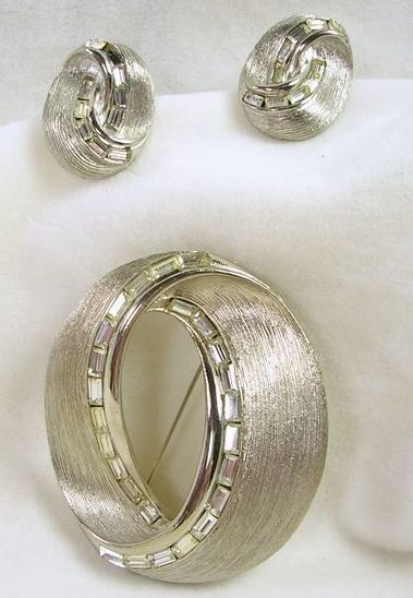 PAKULA Vintage Silver Tone and Rhinestone Baguette Demi Parure