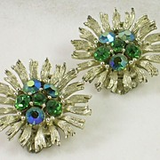 LISNER Emerald Green Sapphire Blue Aurora Borealis Clip Earrings