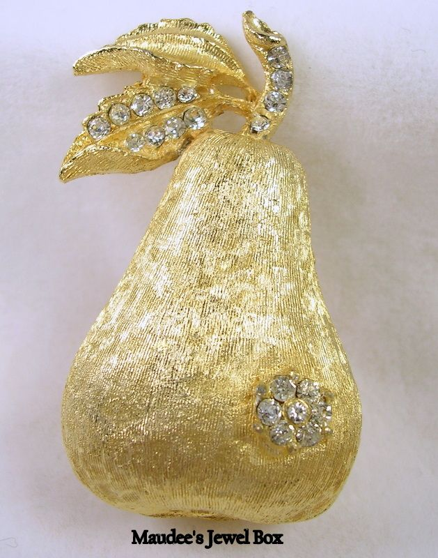 Vintage Gold Tone Pear and Rhinestone Brooch