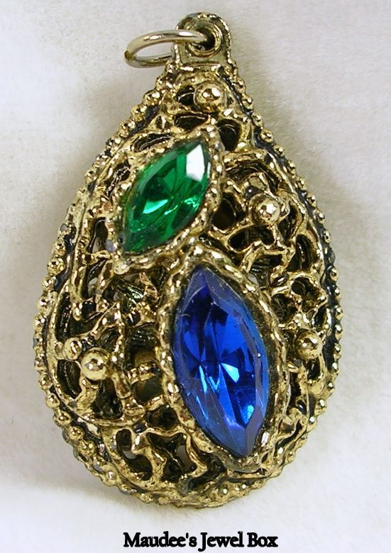 Collectible Gold Tone Nugget Pendant with Emerald Green and Amethyst Marquise Rhinestones