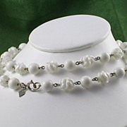 Sarah Coventry White Bead Necklace -  Vintage – Signed