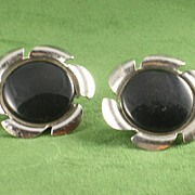 Sarah Coventry Convertible Black & White Silvertone Retro Earrings