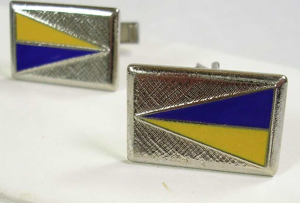 Vintage Men's' Cufflinks with Royal Blue and Yellow Enameled Silver  Tone