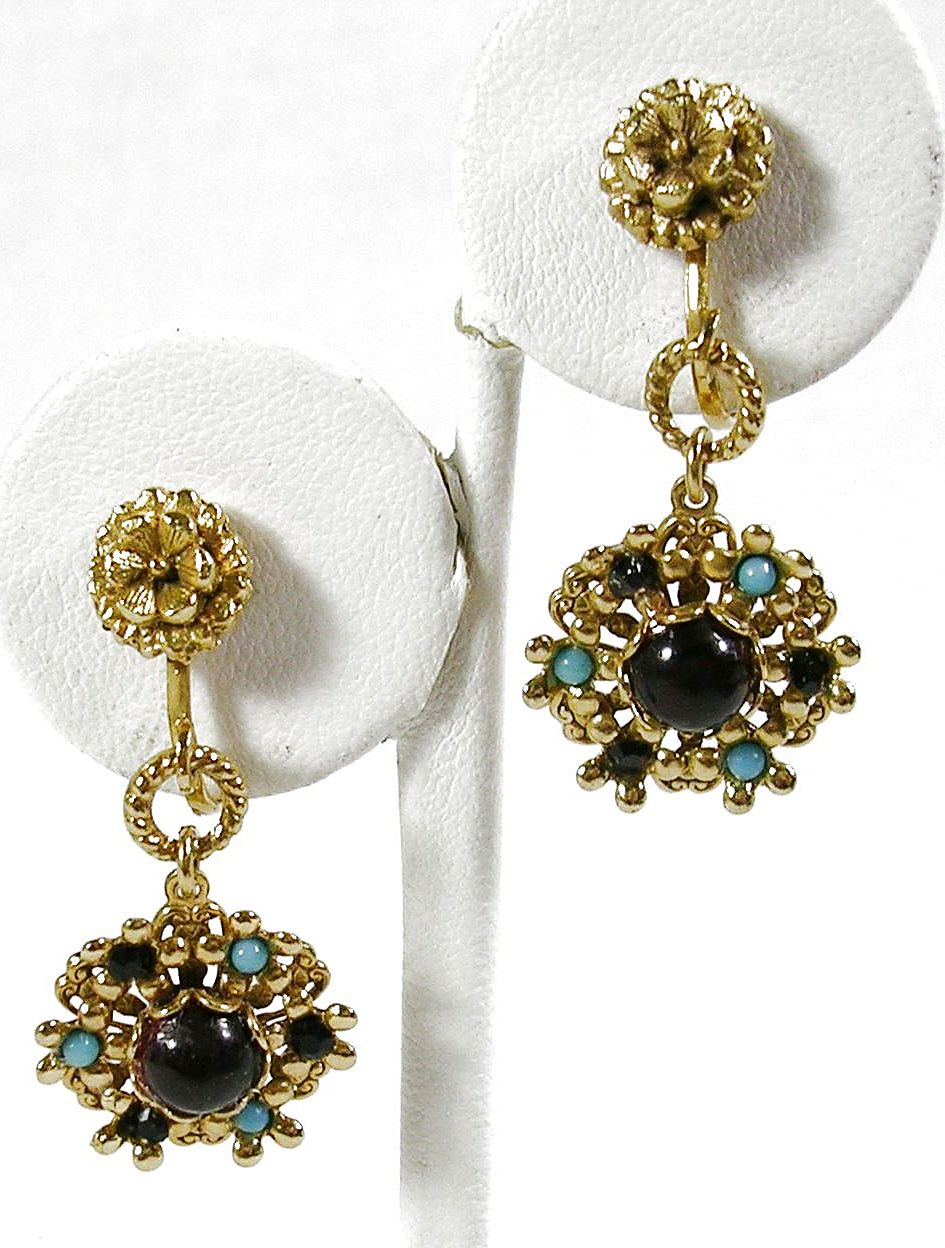 Vintage Dangle Floral Earrings with Simulated Garnet and Turquoise