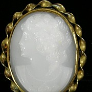 Vintage Faux Cameo Stick Pin in a Gold  Tone Frame