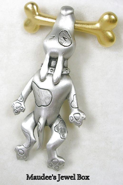 Signed © J.J. Vintage Pewter Pin Brooch Hound Dog Hanging from a Goldtone Bone