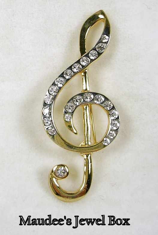 Silver and Goldtone Music Note with Crystal Rhinestones