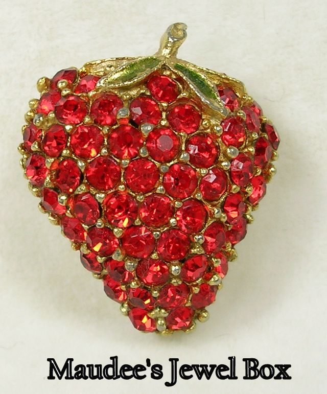 Vintage Strawberry Brooch Pin with Red Crystal Rhinestones