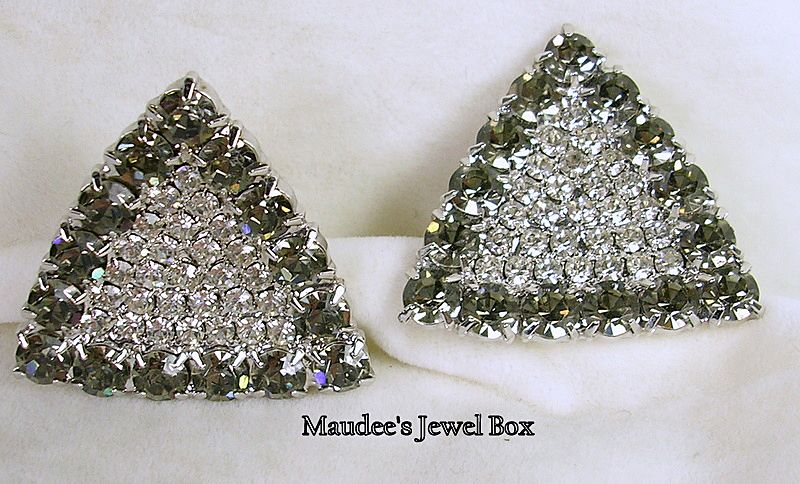 Vintage Triangular Crystal Rhinestone Clip Earrings – Gorgeous!