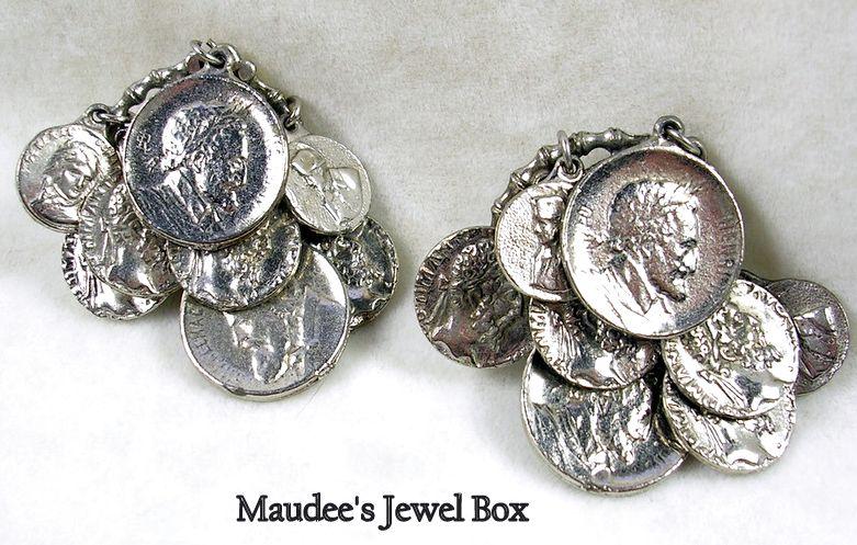 Vintage Coin Dangle Clip Earrings in Silvertone