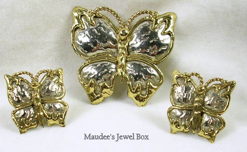 Vintage Two-Tone Butterfly Pin, Brooch, Pendant with Matching Clip Earrings- Stunning!