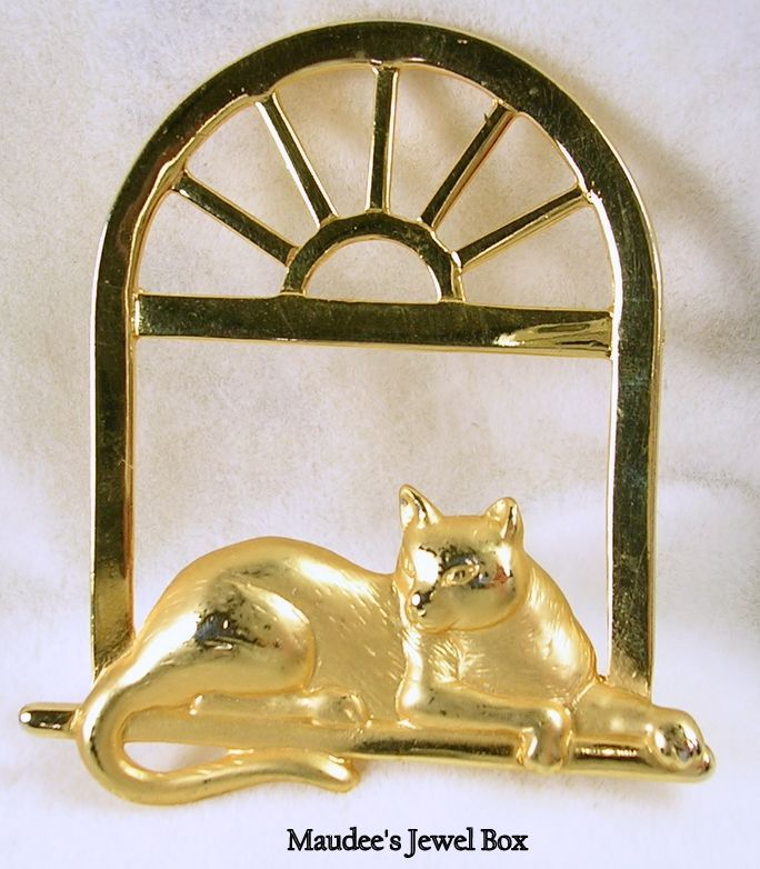 Signed J.J. Vintage Cat on the Window Sill Brooch Pin