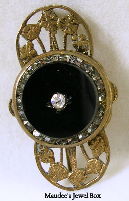 Victorian Design Simulated Onyx and Rhinestone Mourning Pin