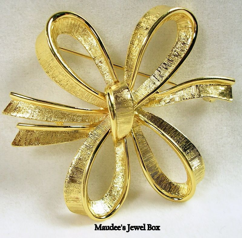MONET Ribbon Bow Gold Tone Pin Brooch
