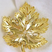 TRIFARI Open Concept Ruffled Edge Oak Leaf Pin Brooch