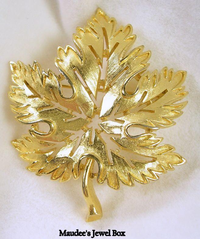 TRIFARI Open Concept Ruffled Edge Oak Leaf Pin Brooch