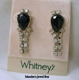 WHITNEY Simulated Black Onyx and Clear Rhinestone Dangle Earrings